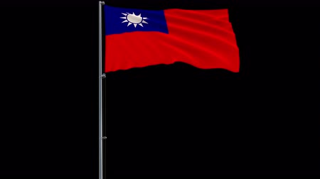 proportions : Isolate big flag of Taiwan - Republic of China on a flagpole fluttering in the wind on a transparent background, 3d rendering, 4k prores 4444 footage with alpha transparency