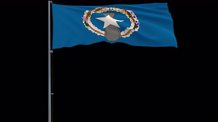 oficial : Isolate big flag of Northern Mariana Islands on a flagpole fluttering in the wind on a transparent background, 3d rendering, 4k prores 4444 footage with alpha transparency Stock Footage
