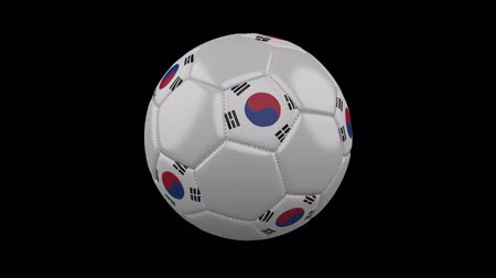 pentágono : Soccer ball with flag South Korea colors rotates on transparent background, 3d rendering, loop, 4k prores footage with alpha channel Vídeos