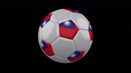 beşgen : Soccer ball with flag Taiwan - Republic of China colors rotates on transparent background, 3d rendering, loop, 4k prores footage with alpha channel