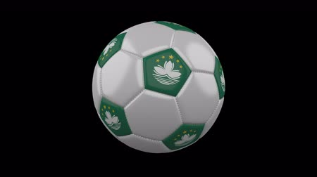 pentágono : Soccer ball with flag Macao colors rotates on transparent background, 3d rendering, loop, 4k prores footage with alpha channel Vídeos