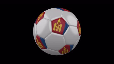 pentágono : Soccer ball with flag Mongolia colors rotates on transparent background, 3d rendering, loop, 4k prores footage with alpha channel Vídeos