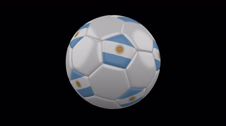 aires : Soccer ball with the flag of Argentina colors rotates on transparent background, 3d rendering, loop, 4k prores footage with alpha channel