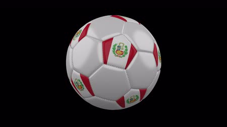 tek bir nesne : Soccer ball with the flag of Peru colors rotates on transparent background, 3d rendering, loop, 4k prores footage with alpha channel