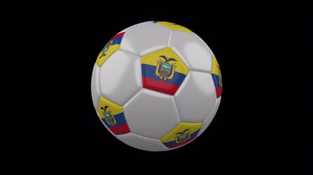 quito : Soccer ball with the flag of Ecuador colors rotates on transparent background, 3d rendering, loop, 4k prores footage with alpha channel