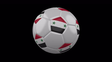 damasco : Soccer ball with the flag of Syrian Arab Republic colors rotates on transparent background, 3d rendering, prores footage with alpha channel, loop Vídeos