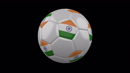 indie : Soccer ball with the flag of India colors rotates on transparent background, 3d rendering, prores footage with alpha channel, loop Wideo