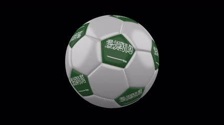 rotates : Soccer ball with the flag of Saudi Arabia colors rotates on transparent background, 3d rendering, prores footage with alpha channel, loop