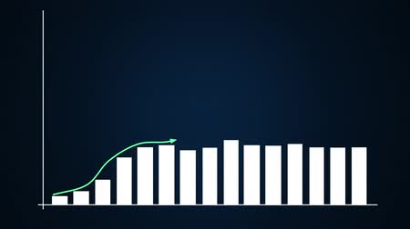 economical : Bar graph and linear ascending graphs in blue. Stock Footage