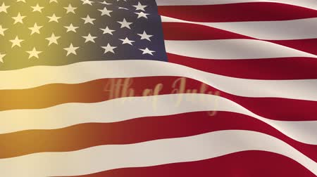 independência : Large cloth of US flag and the inscription appears on the 4th of July Stock Footage