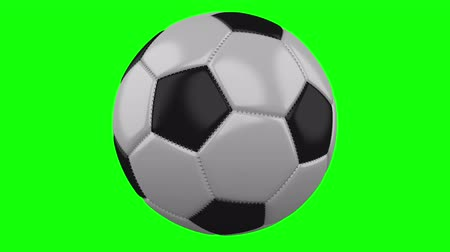 hromakey : Soccer ball rotates on a green hromakey background