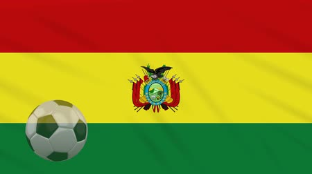 proportions : Flag of Bolivia and soccer ball rotates against background of waving cloth