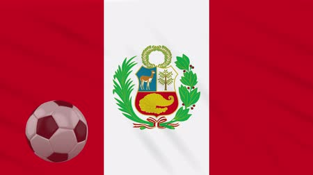 perui : Flag of Peru and soccer ball rotates against background of waving cloth