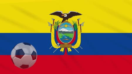 quito : Flag of Ecuador and soccer ball rotates against background of a waving cloth