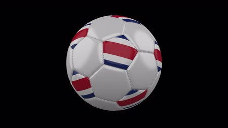 pětiúhelník : Soccer ball with Costa Rica colors rotates on transparent background, 3d rendering, 4k prores footage with alpha channel, loop