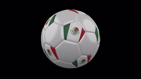mexico city : Soccer ball with Mexico colors rotates on transparent background, 3d rendering, 4k prores footage with alpha channel, loop Stock Footage