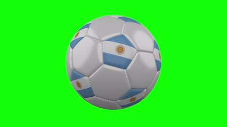 aires : Soccer ball with Argentina flag rotates on green chroma key background, loop