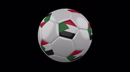 vijfhoek : Soccer ball with flag Sudan, 3d rendering, rotation loop 4k prores footage with alpha channel Stockvideo