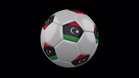 pentágono : Soccer ball with flag Libya, 3d rendering, rotation loop 4k prores footage with alpha channel