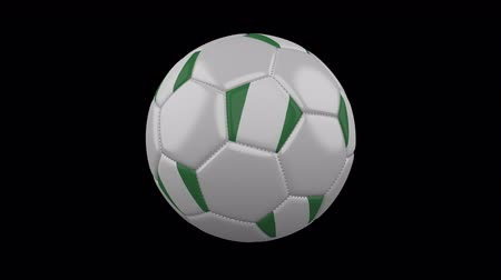 nigeria flag : Soccer ball with flag Nigeria, 3d rendering, rotation loop 4k prores footage with alpha channel