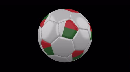 madagaskar : Soccer ball with flag Madagascar, 3d rendering, rotation loop 4k prores footage with alpha channel