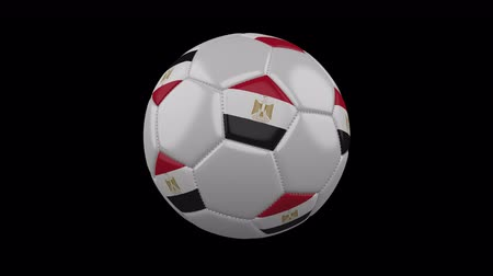 béke : Soccer ball with flag Egypt, 3d rendering, rotation loop