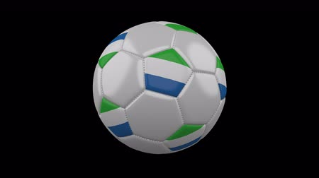 pentágono : Soccer ball with flag Sierra Leone, 3d rendering, rotation loop 4k prores footage with alpha channel