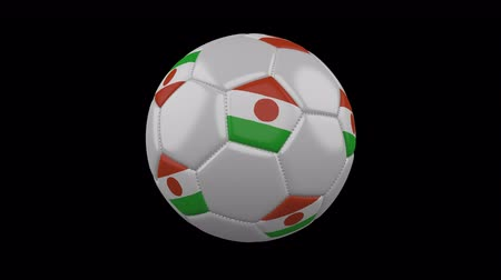 niger : Soccer ball with flag Niger, 3d rendering, rotation loop 4k prores footage with alpha channel