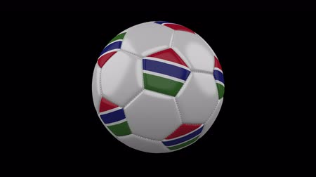 pentágono : Soccer ball with flag Gambia, 3d rendering, rotation loop