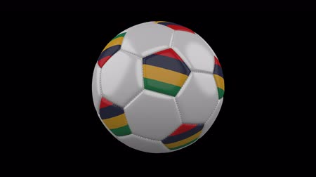 pentágono : Soccer ball with flag Mauritius, 3d rendering, rotation loop 4k prores footage with alpha channel