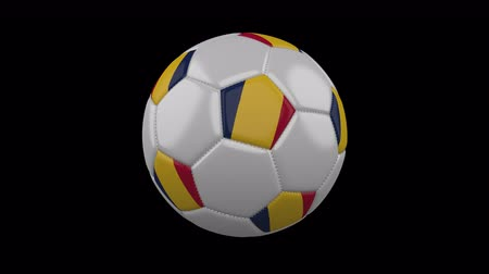 чад : Soccer ball with flag Chad, 3d rendering, rotation loop