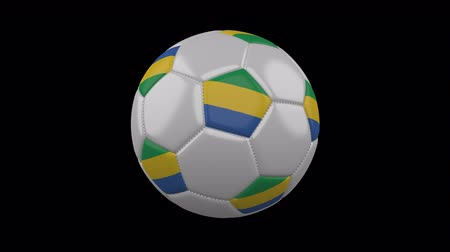 pentágono : Soccer ball with flag Gabon, 3d rendering, rotation loop Vídeos