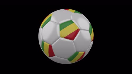 pentágono : Soccer ball with flag Congo, 3d rendering, rotation loop Vídeos