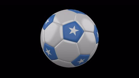 beşgen : Soccer ball with flag Somalia, 3d rendering, rotation loop 4k prores footage with alpha channel