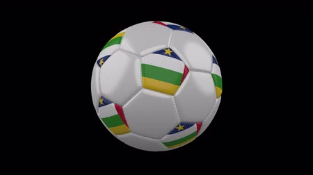 pentágono : Soccer ball with flag Central African Republic, 3d rendering, rotation loop