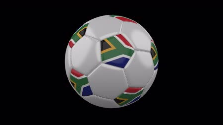 pretoria : Soccer ball with flag South Africa, 3d rendering, rotation loop 4k prores footage with alpha channel Stock Footage