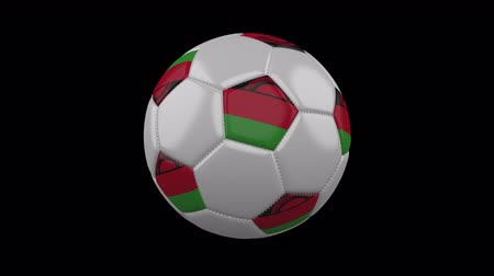 pentágono : Soccer ball with flag Malawi, 3d rendering, rotation loop 4k prores footage with alpha channel