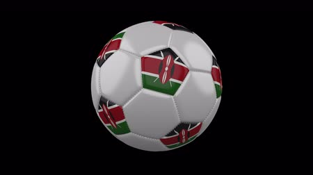 beşgen : Soccer ball with flag Kenya, 3d rendering, rotation loop 4k prores footage with alpha channel Stok Video