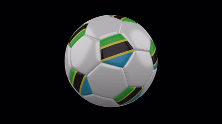 ações : Soccer ball with flag Tanzania, 3d rendering, rotation loop 4k prores footage with alpha channel Stock Footage
