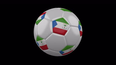 vijfhoek : Soccer ball with flag Equatorial Guinea, 3d rendering, rotation loop