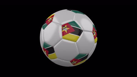 pentágono : Soccer ball with flag Mozambique, 3d rendering, rotation loop 4k prores footage with alpha channel