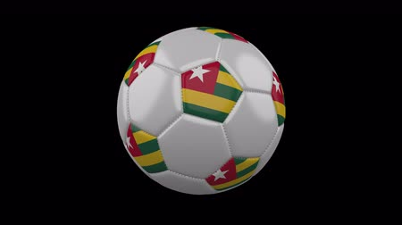 pentágono : Soccer ball with flag Togo, 3d rendering, rotation loop 4k prores footage with alpha channel