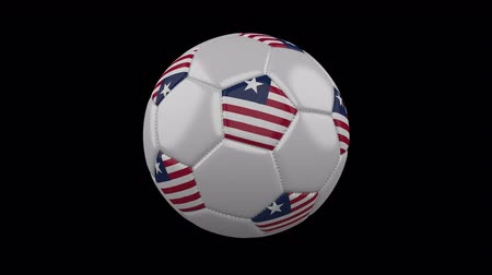 pentágono : Soccer ball with flag Liberia, 3d rendering, rotation loop 4k prores footage with alpha channel