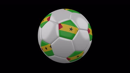 democrático : Soccer ball with flag Sao Tome and Principe, 3d rendering, rotation loop 4k prores footage with alpha channel
