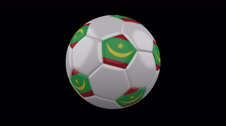 мавританский : Soccer ball with flag Mauritania, 3d rendering, rotation loop 4k prores footage with alpha channel Стоковые видеозаписи
