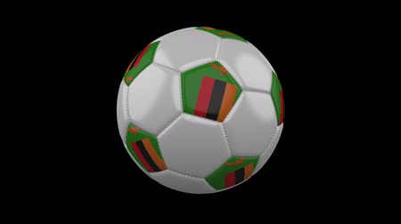zambia : Soccer ball with flag Zambia, 3d rendering, rotation loop 4k prores footage with alpha channel