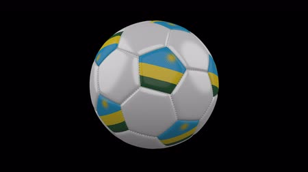 rotates : Soccer ball with flag Rwanda, 3d rendering, rotation loop 4k prores footage with alpha channel