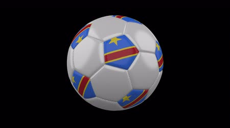 pentágono : Soccer ball with flag Democratic Republic of Congo, 3d rendering, rotation loop Vídeos