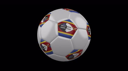 eswatini : Soccer ball with flag eSwatini - Swaziland, 3d rendering, rotation loop Stock Footage