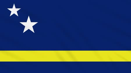 curacao : Curacao flag waving cloth, ideal for background loop Stock Footage